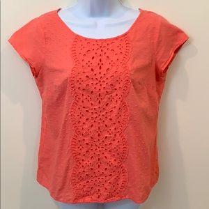 Ann Taylor LOFT Short Sleeve Pink Cotton Shirt